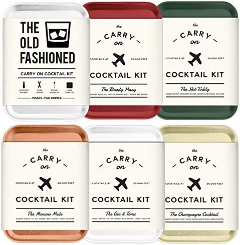 The Carry On Cocktail Kit Old Fashioned, Moscow Mule, Gin and Tonic, Bloody Mary, Hot Toddy, Champagne Cocktail – 6 Pack Carry On Cocktail Kit Holiday Set, Six Carry On Cocktail Kits Makes 12 Drinks