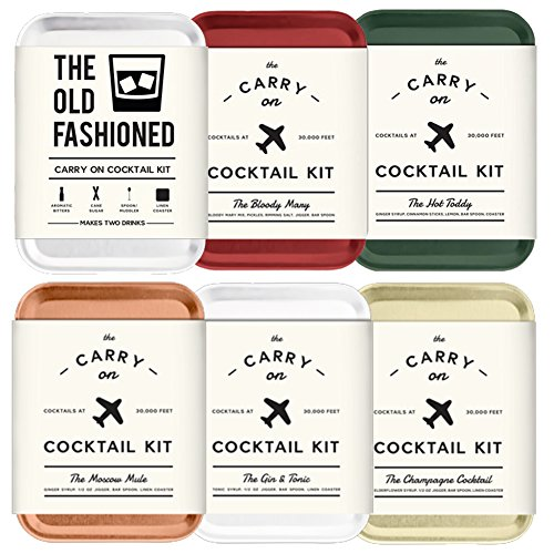 The Carry On Cocktail Kit Old Fashioned, Moscow Mule, Gin and Tonic, Bloody Mary, Hot Toddy, Champagne Cocktail - 6 Pack Carry On Cocktail Kit Holiday Set, Six Carry On Cocktail Kits Makes 12 Drinks by Sawdust + Oil