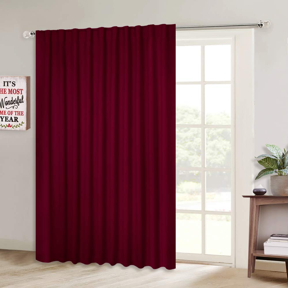 NICETOWN Glass Door Curtains for Window, Wide Thermal Curtain Panels, Sliding Door Drapes, Christmas Holiday Decor Extra Wide Curtains (Burgundy Red, 80 inches Wide x 84 inches Long, 1 PC)