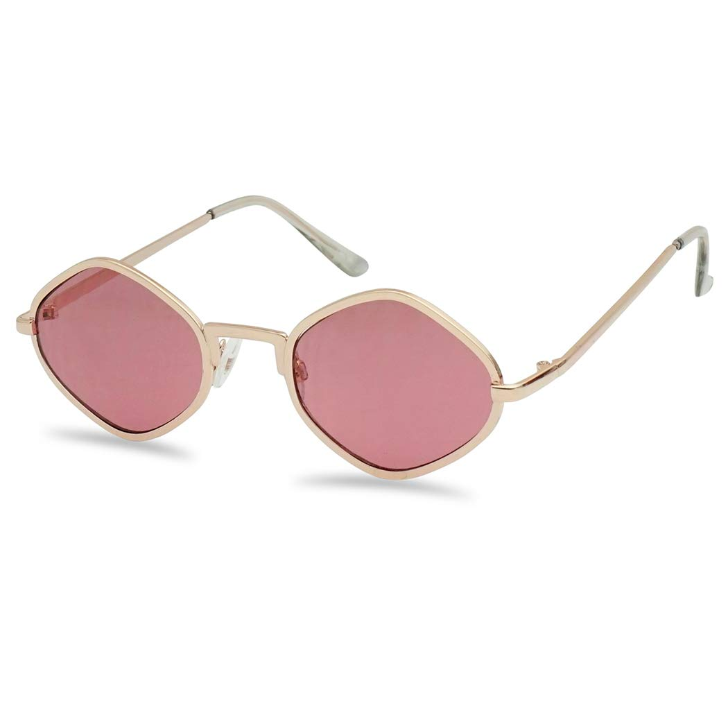 Full Metal Geometric Color Tinted Flat Lens Designer Inspired Sun Glasses (Gold Frame | Pink) by SunglassUP