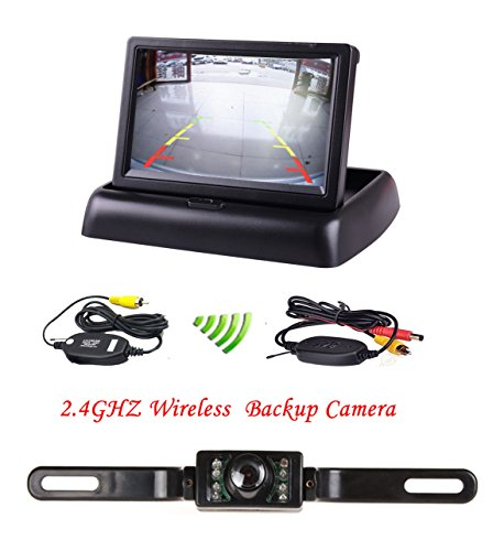 """Podofo 4.3"""" Foldable Car TFT LCD Monitor Wireless Backup Camera License Plate Reverse Rear View Parking System Set..."""