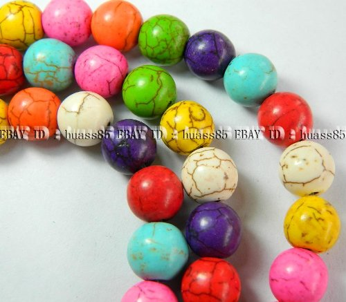 - BEAUTIFUL 8mm Multicolor Turkey Turquoise Round Loose Beads 15'' ... with xtras .. from Hibiscus Express
