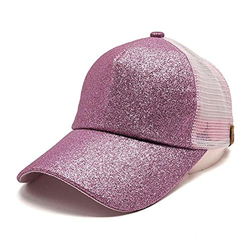ylovego New Arrival Sequin Adjustable Hat Women Sunhat Baseball Cap Women 2018 Casual Breathable caps Brand Cap Wholesale#4M Pink