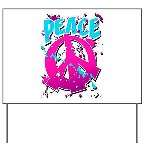 Yard Sign Peace Symbol Sign Splatter Neon (Peace Splatter Sign)