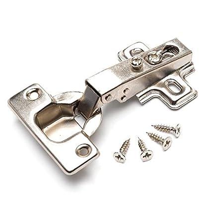 Bulk Hardware Bh05745 Scharnier f/ür K/üchenschrank////Kleiderschrank BH05745 Frontrahmen verzinkt,/35/mm,/95/Grad,/2/St/ück Clip-Befestigung wei/ß vorliegender Anschlag