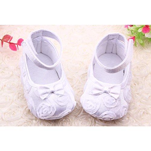 PIXNOR par de lindo bebé niñas rosas Bowknot decoración Prewalkers zapatos (blanco) blanco