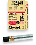 Pentel Super Hi-Polymer Lead Refill, 0.5mm Fine, 4H, 144 Pieces of Lead (C505-4H)