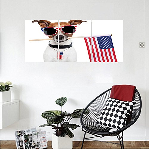Liguo88 Custom canvas Dog Lover Decor Collection American Dog with Usa Flag and Shades Sunglasses Liberty Anniversary Independence Bedroom Living Room Wall Hanging Red Navy - Brown Sunglasses And Ross