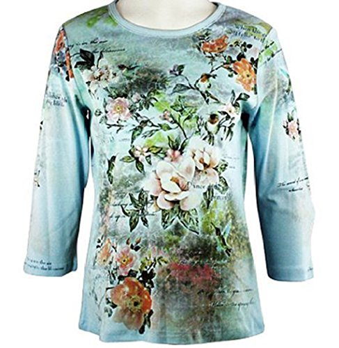 Cactus Fashion - Hummingbird & Flowers, 3/4 Sleeve, Rhinestone Studded, Artfully Printed, Blue Colored Womens Cotton Top
