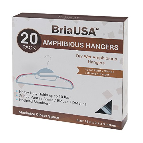 BriaUSA Dry Wet Clothes Hangers Amphibious Pink with Non-Slip Shoulder Design, Steel Swivel Hooks – Box of 20 ()