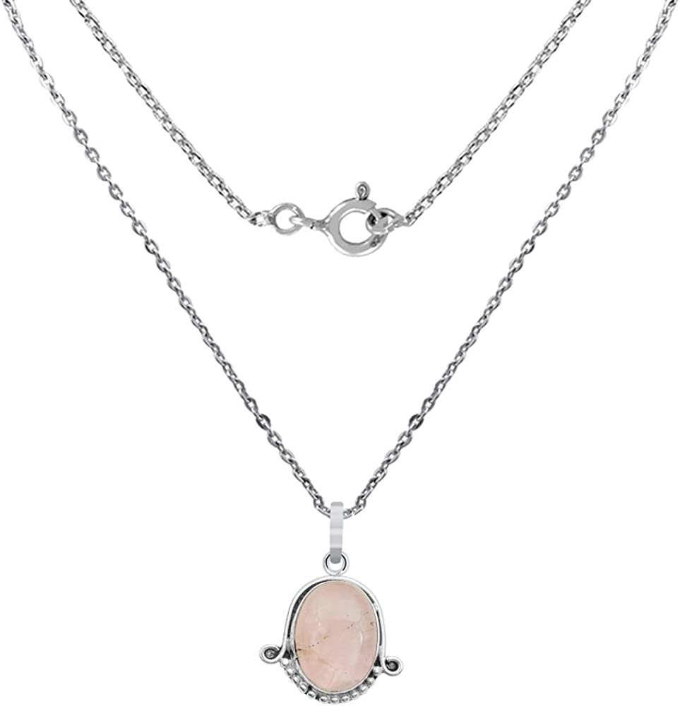 Orchid Jewelry 25 Natural Oval Pink Rose Quartz Sterling Silver Pendant Necklace With an 18 Inch Chain A Lovely Long Chain Pendant Necklace Set For Women In Silver With A Vintage Vibe