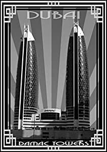 Photo of Damac Tower-Black And White With Silver Border, Mounted (A5)