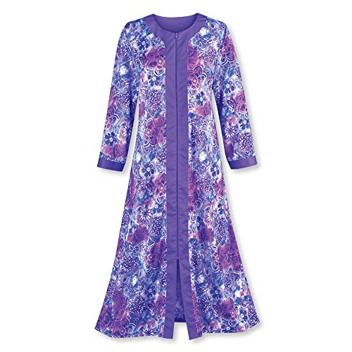 Collections Etc Women's Zip Front Floral Long Robe, Purple, Medium (Lounger Front Zip)