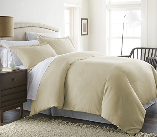 1800 Series 3 Piece Duvet Cover Set by Becky Cameron - Double-Brushed Microfiber - Full/Queen, Cream