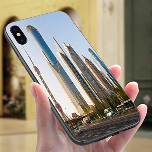 (Creative iPhone Case for iPhone XR Shanghai Oriental Pearl and Skyscrapers Resistance to Falling, Non-Slip,Soft,Convenient Protective Case)
