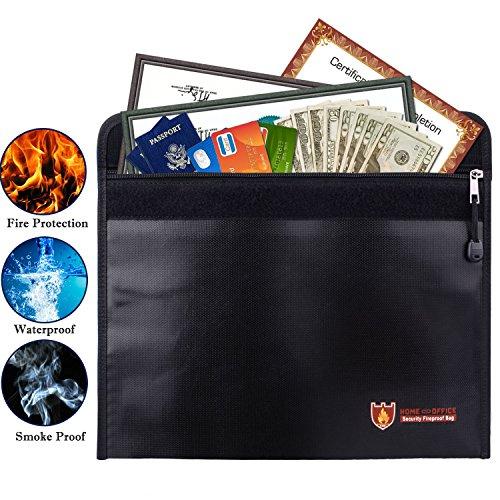 Basic - Archivador de bolsillo para documentos (resistente al agua y al fuego, incluye una copia de la tarjeta de crédito),...