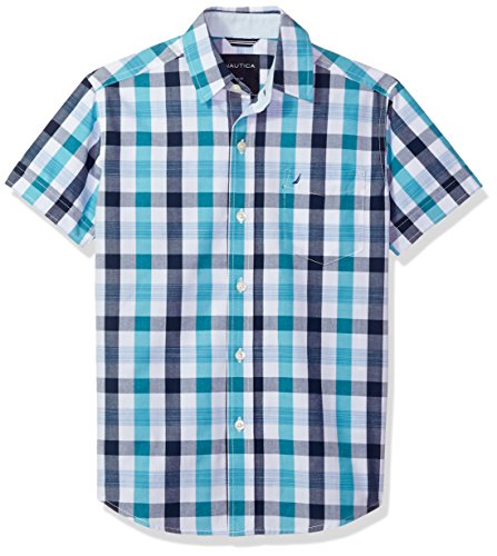 (Nautica Boys' Toddler Short Sleeve Plaid Woven Shirt, Alexander Casper Blue, 3T)