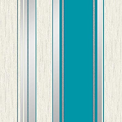 Vymura Synergy Striped Wallpaper Teal / White / Silver