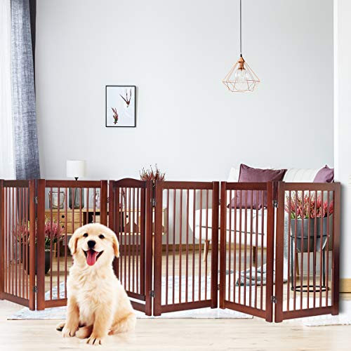 PETSJOY 36 H Pet Dog Gate Fence, Folding Panel Wood Pet Dog Safety Fence, Wide Barrier Gate with Walk-Through Door in 2 Directions, Add Decrease Panels Directly 133 W