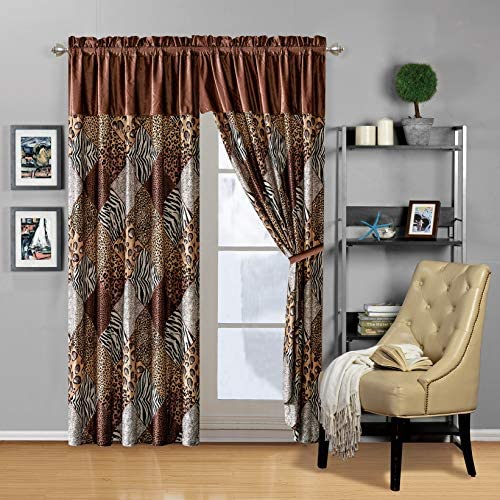 Modern 4 – Piece Brown Black White Animal Print Safari Curtain Set, Leopard, Zebra, Cheetah Velvet Drapes Window Panels 116 Wide X 84 Tall