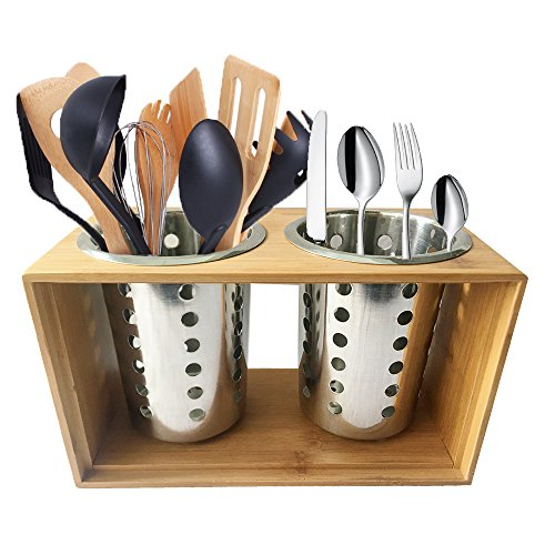 Stainless Steel Utensil Holder Kitchen Cooking Utensil Holders With Wooden Holder Stand︳ Cutlery Holder Caddy ︳Organise your Flatware & Silverware︳Ideal for Kitchen, Dining, Entertaining, Picnic by CHEFHUB
