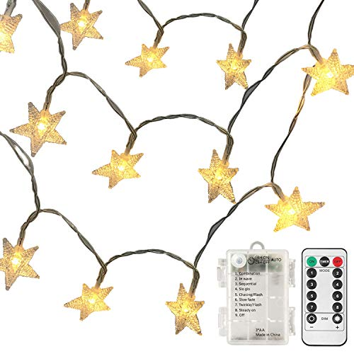echosari [Remote & Timer] Battery Operated Christmas Star LED String Lights 16 Feet 50 LED Fairy String Lights Indoor & Outdoor Garden, Wedding Decoration (Warm White)