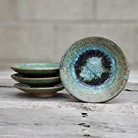 GEODE RING DISH: Individual Geode Ring Dish in GREEN Fused Glass Dish, Trinket Dish, Soap Dish, Crackle Glass, Candle Holder, Dock 6 Pottery, Kerry Brooks Pottery