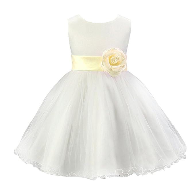 Free Fisher - Vestido Blanco de Princesa Fiestas Boda para Niñas Vestidos Elegantes de Noche,