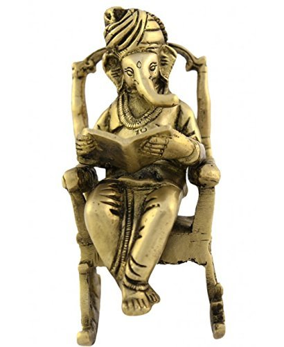 Exotic India VZF746 Lord Ganesha On Chair Brass Statue, 8'' x 3'' x 1.5''