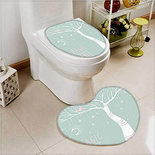 aolankaili 2 Piece Toilet lid Cover mat Set Tree with Stars and Hanging On The Branches Simplistic Pastel White Blue Soft Shaggy Non Slip