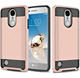 LG Aristo Case, LG Phoenix 3 Case, LG K8 2017 Case, LG Fortune Case, JATEN Hybrid Dual Layer [Slim Fit] Smooth Hard Cover with TPU Skin Case + HD Screen Protector (Rose Gold/Black)