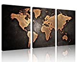 QICAI Large 30''x 60'' 3 Panels 30x20 Ea Art Canvas Print Original Wonders of the World Old Paper Map Vintage Wall Decor Home Interior, Africa Grunge World Map Canvas Stretched and Framed,3 Panel/set