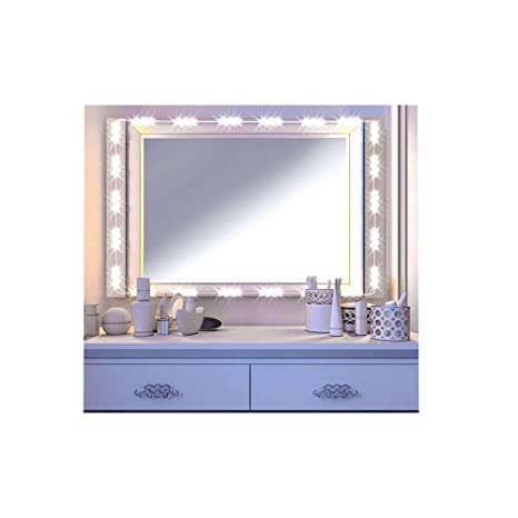 LED Vanity Mirror Lights Kit IMAGE Hollywood Style Cosmetic Lights with Dimmer Controller and Strip Sticker 13ft 75 LEDs Plug in(Standard White) ...
