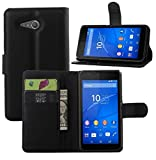 Sony Xperia E4G Case - Flip Pu Leather Wallet Case Holder Cover with Stand / Card Slots for Sony Xperia E4G Smartphone (Wallet Black)