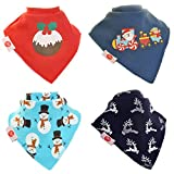 Zippy Christmas Fun Baby and Toddler Bandana Bib - Absorbent 100% Cotton Front Dribble Bibs with Adjustable Snaps (4 Pack Gift Set) Boys Christmas Red and Blue set