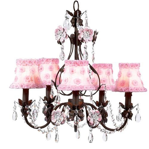 Jubilee 17473 Mocha 5 Arm Flower Garden Chandelier with White/Pink Petal