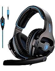 SADES SA810 Xbox One Headset Over Ear Stereo Gaming Headset Bass Gaming Auriculares con micrófono para la nueva Xbox One PC PS4 teléfono portátil (Nueva versión en negro)