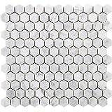 Diflart Bianco Carrara White Marble Hexagon Mosaic Tile 1 inch Polished New