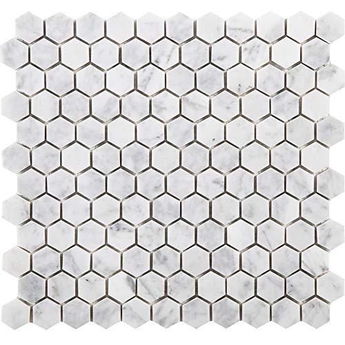 Diflart Bianco Carrara White Marble Hexagon Mosaic