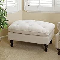 Creme Tufted Fabric Ottoman by Christopher Knight Home