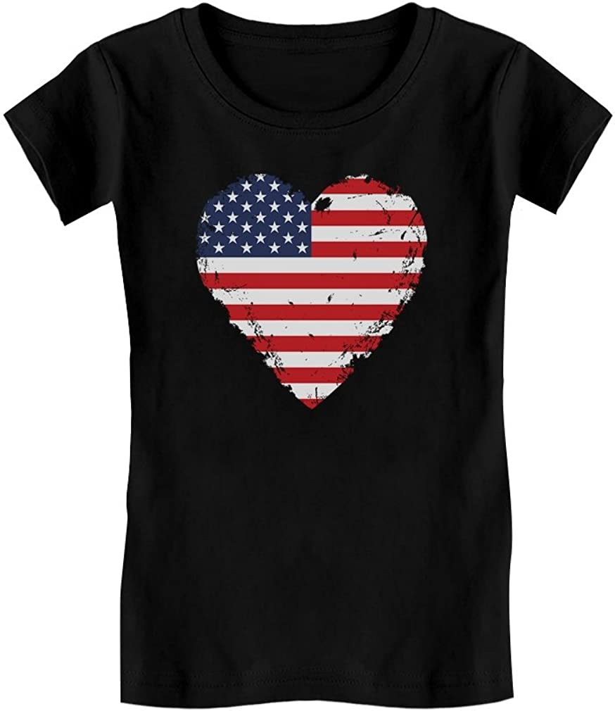 Love USA 4th of July American Heart Flag Toddler Kids Girls Fitted T-Shirt