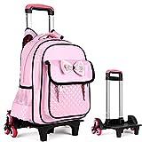 HIGOGOGO Kids Trolley Hand Waterproof Backpack Travel Bags Children School Backpacks Cute Bookbags with Rolling Wheels (3 Wheels, Pink)