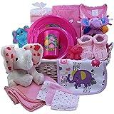 Ellie The Elephant Baby Gift Basket, Pink Girls