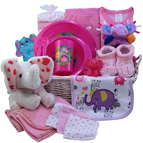 Ellie The Elephant Baby Gift Basket, Pink Girls (Unique Baby Girl Gift Baskets)