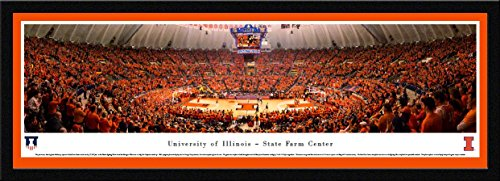 Illinois Illini Art Glass (Illinois Basketball - Blakeway Panoramas College Sports Posters with Select Frame)