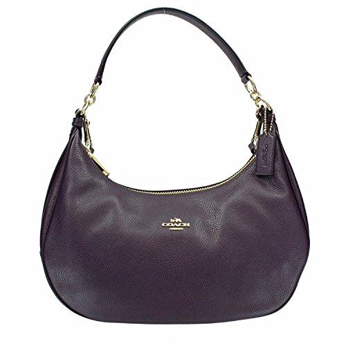 Coach Pebble Leather Harley East West Hobo in Purple Berry by Coach