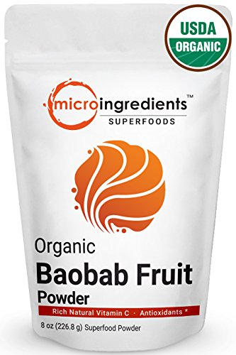 Pure USDA Organic Baobab Super Fruit Powder, 8 Ounce, Organic Vitamin C, Natural Fiber & Strong Antioxidants. Non-Irradiated, Non-Contaminated, Non-GMO and Vegan Friendly. Review