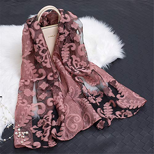 Organza Cut Flower Scarf Female Cotton And Linen Lace Stitching Leaves Pattern Silk Scarf Shawl T 180X70Cm
