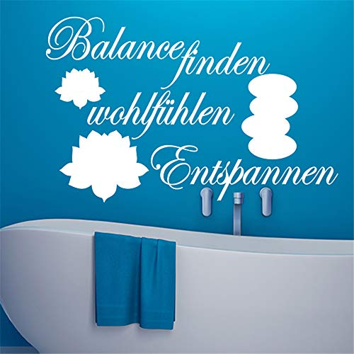 Zaidao Wall Art Decal Sticker Words Wall Saying Words Removable Mural French Quote Salle De Bain Balance Finden Wohltfühlen for Bathroom Washroom -