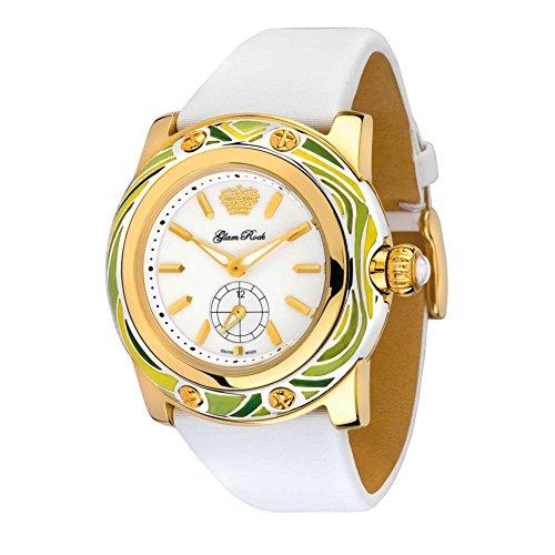 Glam Rock Women's GR10500 Miami White Enamel Dial White Techno Silk Watch